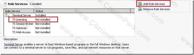 Install windows terminal server license